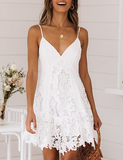 cheap Lace Dresses-Women's Strap Dress Short Mini Dress White Sleeveless Clothing Summer V Neck Hot Sexy vacation dresses 2021 S M L XL XXL 3XL