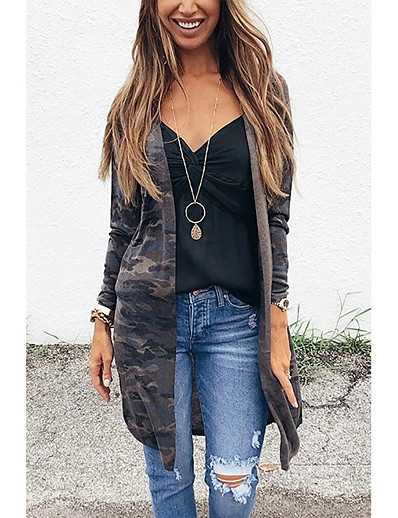 cheap Furs & Leathers-Women's Fur Coat Daily Street chic Long Camo / Camouflage Dark Gray S / M / L