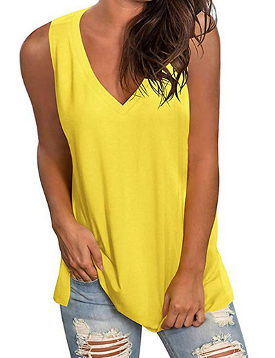 cheap Tank Tops-Women's Tank Top Solid Colored V Neck Tops Basic Top White Black Blue