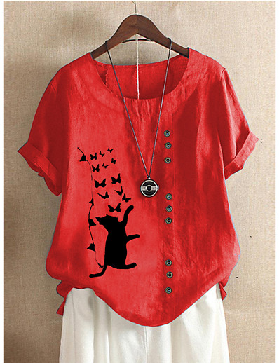 cheap Blouses & Shirts-Women's Blouse Animal Print Short Sleeve Loose Tops Cotton Basic White Red Green