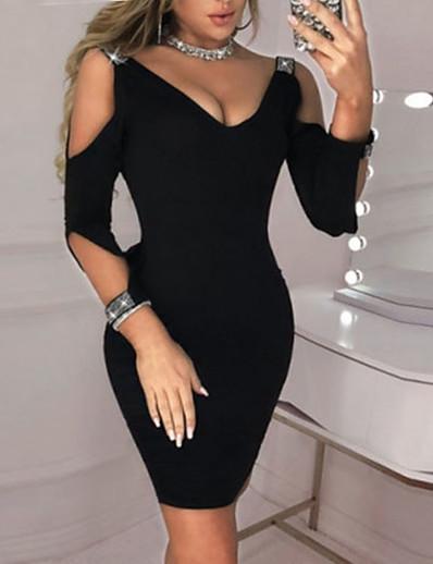 cheap MORE STYLE-Women's Basic Sheath Dress - Solid Colored Black Wine Blue S M L XL