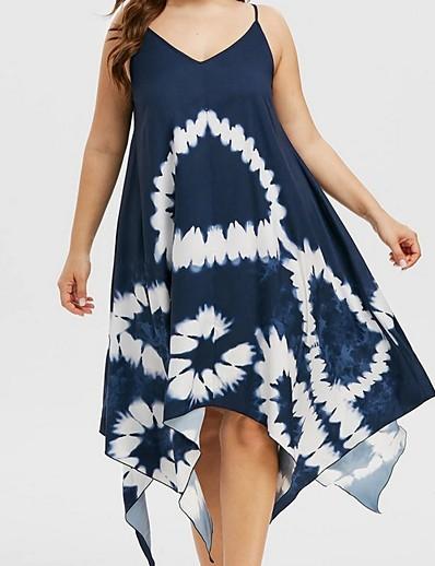 cheap Plus Size Dresses-Women's A-Line Dress Knee Length Dress - Sleeveless Floral Summer V Neck Casual 2020 Purple Green Navy Blue L XL XXL 3XL 4XL 5XL