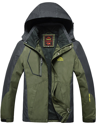 cheap Softshell, Fleece & Hiking Jackets-Wolfcavalry® Men's Hoodie Jacket Hiking Jacket Outdoor Windproof Warm Breathable Detachable Cap Patchwork Full Length Hidden Zipper Top Hunting Fishing Climbing Red Army Green Blue Dark Blue