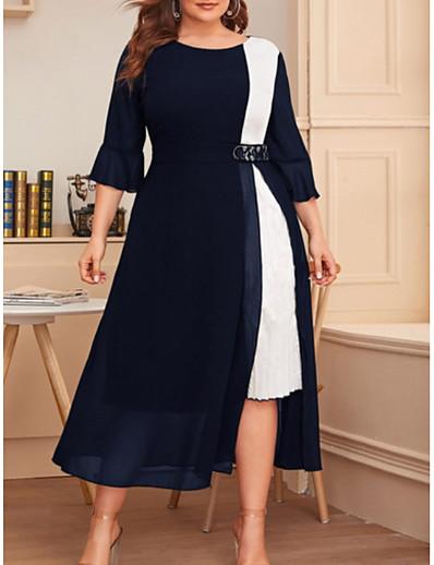 cheap PLUS SIZE-Women's A-Line Dress Midi Dress - 3/4 Length Sleeve Color Block Summer Plus Size Casual 2020 Black Wine Navy Blue XL XXL 3XL 4XL