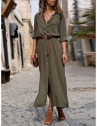 cheap Casual Dresses-Women's Shirt Dress Maxi long Dress Black Army Green Navy Blue Long Sleeve Solid Color Fall Summer Shirt Collar Work Hot Formal vacation dresses 2021 S M L XL