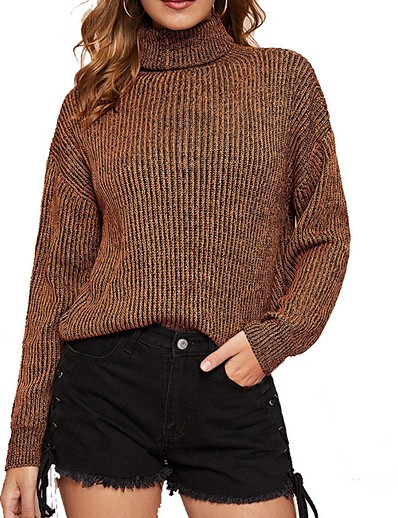 cheap TOPS-Women's Solid Colored Long Sleeve Pullover Sweater Jumper, Turtleneck Brown S / M / L