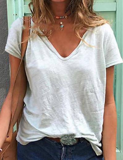 abordables Tee-shirts-T-shirt Femme Quotidien Couleur Pleine Manches Courtes Col en V Blanche Jaune Bleu marine Hauts Standard Coton