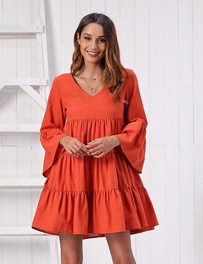 cheap 06/22/2020-Women's Swing Dress Short Mini Dress - Long Sleeve Solid Color Ruffle Ruched Summer Elegant Holiday Going out 2020 Red Orange S M L XL