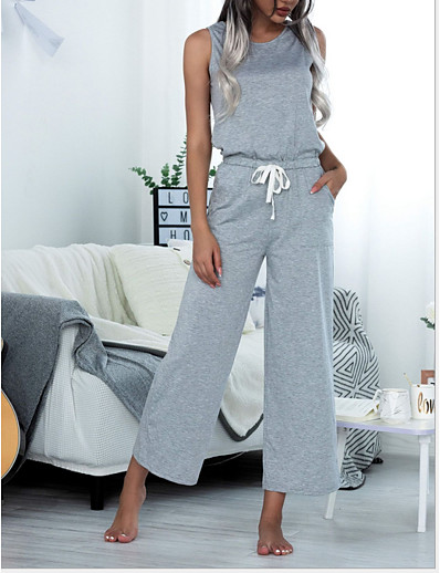 cheap Jumpsuits & Rompers-Women's Black Wine Light gray Jumpsuit Solid Colored