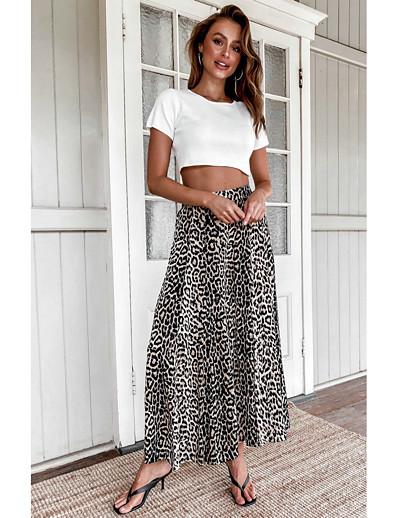 cheap Bottoms-Women's Basic Loose Daily Wide Leg Pants Leopard Print High Waist Brown