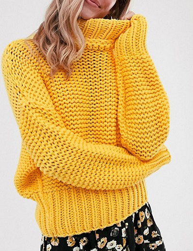 cheap TOPS-Women's Solid Colored Long Sleeve Pullover Sweater Jumper, Turtleneck Yellow S / M / L