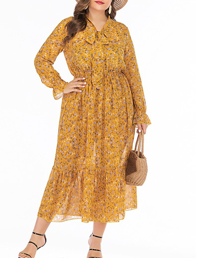cheap Plus Size Dresses-Women's A-Line Dress Midi Dress - Long Sleeve Floral Summer V Neck Casual Boho Loose 2020 Yellow XL XXL XXXL XXXXL XXXXXL XXXXXXL