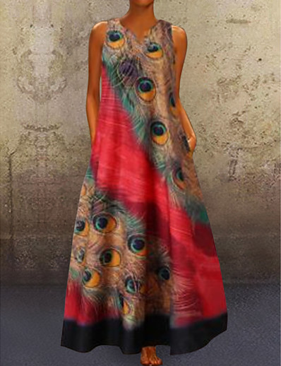 cheap Best Sellers-Women's A-Line Dress Maxi long Dress - Sleeveless Peacock Feathers Print Summer V Neck Plus Size Casual Holiday Vacation 2020 Red Navy Blue Light Blue S M L XL XXL XXXL XXXXL XXXXXL
