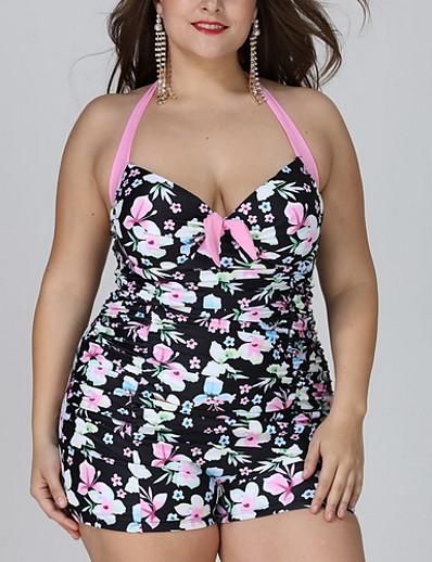 cheap Plus Size Swimwear-Women's One-piece Swimwear Swimsuit - Animal XL XXL XXXL White Black