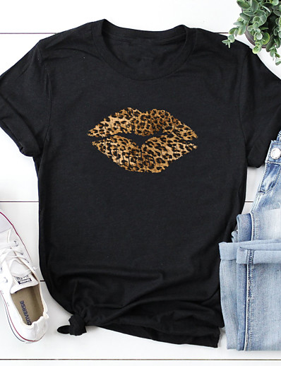 cheap Tees & T Shirts-Women's T-shirt Leopard Cheetah Print Print Round Neck Tops 100% Cotton Basic Basic Top White Black Red