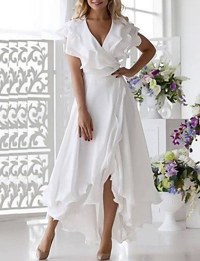 cheap Elegant Dresses-Women's Plus Size Wrap Dress Chiffon Midi Dress - Sleeveless Ruffle Multi Layer Summer Deep V Sexy Holiday Vacation Beach 2020 White Dark Blue S M L XL XXL XXXL XXXXL XXXXXL