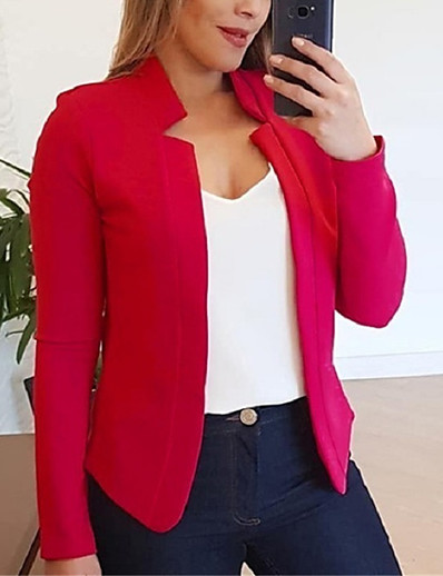 cheap Jackets & Blazers-Women's Fall Fall & Winter Jacket Daily Work Basic V Neck Stand Patchwork Short Solid Colored White / Black / Red S / M / L