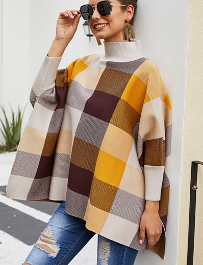 cheap Sweaters & Cardigans-Women's Color Block Long Sleeve Pullover Sweater Jumper, Round Neck Fall Yellow One-Size