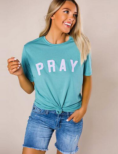 cheap Tees & T Shirts-Women's T-shirt Letter Tops Round Neck Daily Summer Blue S M L XL