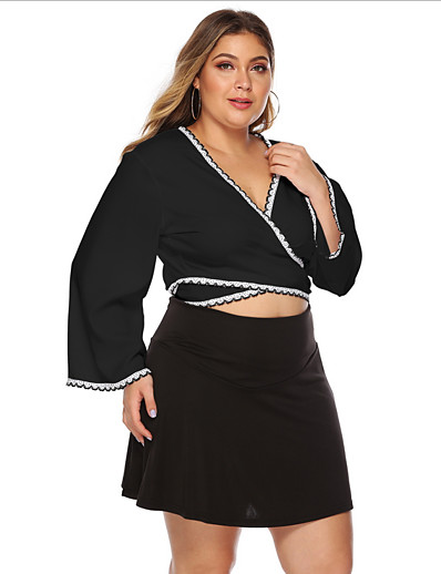 cheap Plus Size Tops-Women's Going out Plus Size Blouse Shirt Solid Colored Long Sleeve V Neck Tops Basic Top Black