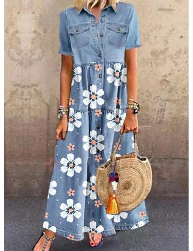 cheap Maxi Dresses-Women's Denim Shirt Dress Maxi long Dress - Short Sleeve Floral Pocket Button Front Summer Shirt Collar Casual Daily Denim 2020 Blue M L XL XXL 3XL