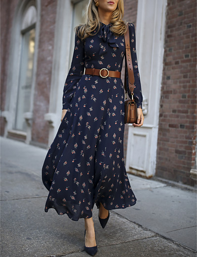 cheap Dresses-Women's Shift Dress Midi Dress Navy Blue Long Sleeve Geometric Summer Round Neck Casual 2021 S M L XL XXL 3XL