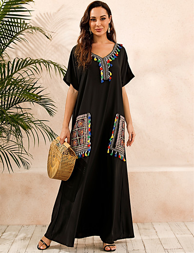 cheap Plus Size Dresses-Women's Kaftan Dress Maxi long Dress - Short Sleeve Print Summer V Neck Plus Size Casual Boho Daily Loose 2020 Black S M L XL XXL XXXL XXXXL XXXXXL