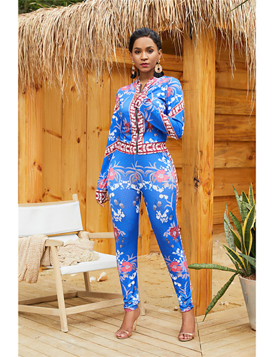 cheap JUMPSUITS & ROMPERS-Women's Geometric Two Piece Set Set Pant Print Tops