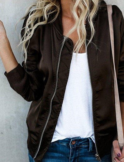 cheap OUTERWEAR-Women's Jacket Regular Solid Colored Daily Black Wine Brown S M L XL