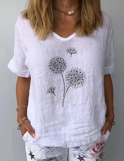 cheap Tees & T Shirts-Women's T shirt Floral Flower V Neck Tops Basic Top White Yellow Navy Blue
