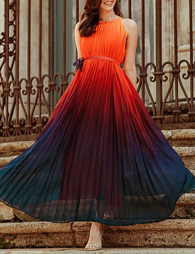 cheap Lace Dresses-Women's Chiffon Dress Maxi long Dress Rainbow Sleeveless Color Gradient Summer Round Neck Work 2021 S M L XL