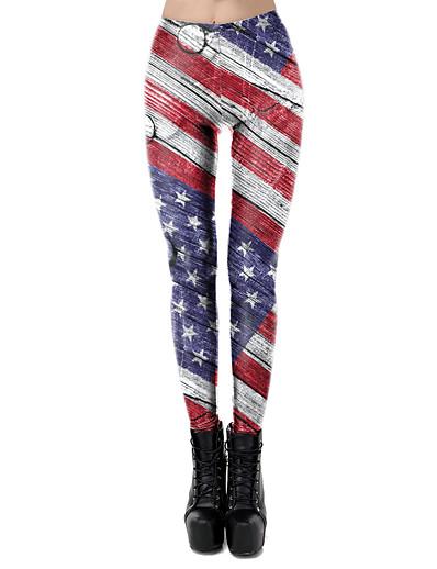abordables Leggings-Femme Sportif Confort Des sports Gymnastique Yoga Leggings Pantalon Avec motifs Drapeau National Toute la longueur Imprimé Blanche Noir Bleu Rouge Vin