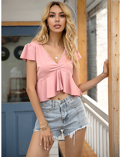 cheap TOPS-Women's Blouse Solid Colored Tops V Neck Daily Summer Blushing Pink XS S M L