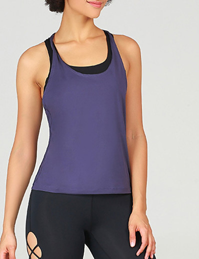 cheap Tops-Women's Tank Top Solid Colored Round Neck Tops Slim Purple