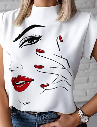 cheap Tees & T Shirts-Women's Blouse Shirt Graphic Prints Round Neck Tops Basic Top White