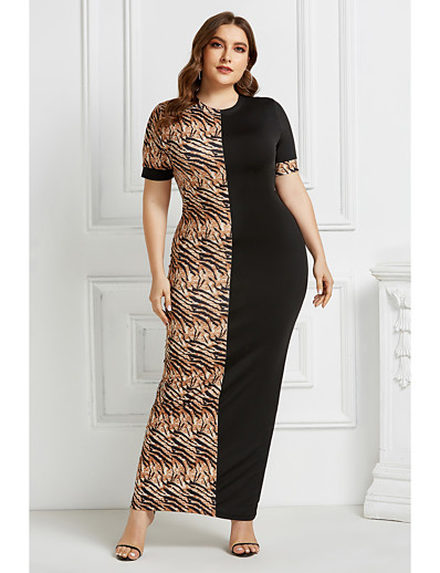 cheap Plus Size Dresses-Women's Sheath Dress Maxi long Dress - Short Sleeve Leopard Animal Patchwork Print Summer Elegant Daily Weekend 2020 Black Light Brown Camel Brown S M L XL XXL XXXL XXXXL XXXXXL
