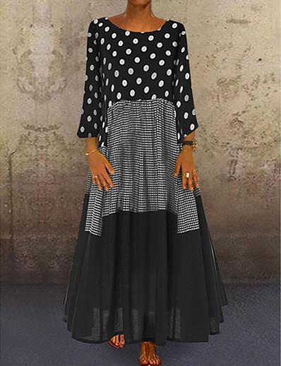 cheap Maxi Dresses-Women's A-Line Dress Maxi long Dress - Long Sleeve Polka Dot Patchwork Print Spring Fall Plus Size Casual Holiday Vacation Loose 2020 Black Red Yellow M L XL XXL XXXL XXXXL XXXXXL