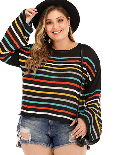 cheap Plus Size Tops-Women's Striped Pullover Long Sleeve Plus Size Sweater Cardigans Round Neck Black