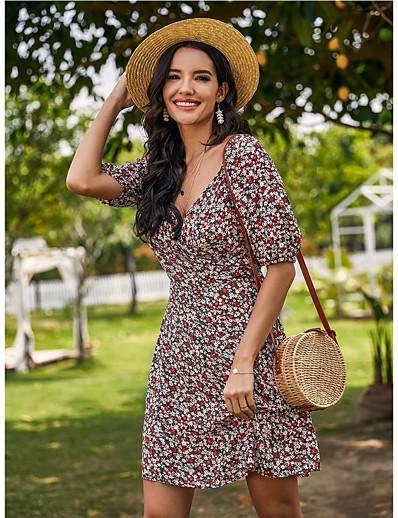 abordables ROBES D'ÉTÉ & Boho-Mini robe Courte Femme Robe de Mousseline Demi Manches Eté - Simple Imprimé Géométrique 2020 Rouge S M L XL