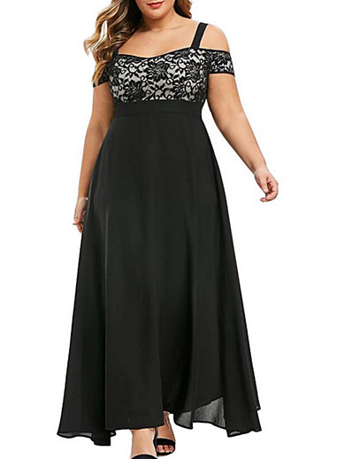 cheap Midi Dresses-Women's A-Line Dress Maxi long Dress - Short Sleeve Solid Color Summer Off Shoulder Plus Size Elegant Sexy 2020 Black Purple Wine Green L XL XXL 3XL 4XL 5XL