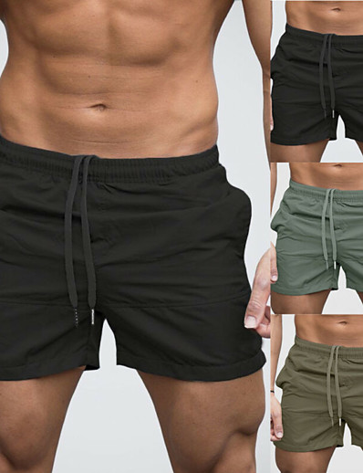 cheap Sportwear-Men's Swim Shorts Swim Trunks Bottoms Quick Dry Breathable Drawstring - Swimming Beach Water Sports Solid Colored Summer / Micro-elastic