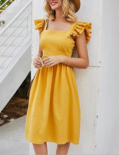 cheap 06/26/2020-Women's A-Line Dress Knee Length Dress - Sleeveless Solid Color Summer Casual 2020 Yellow S M L XL
