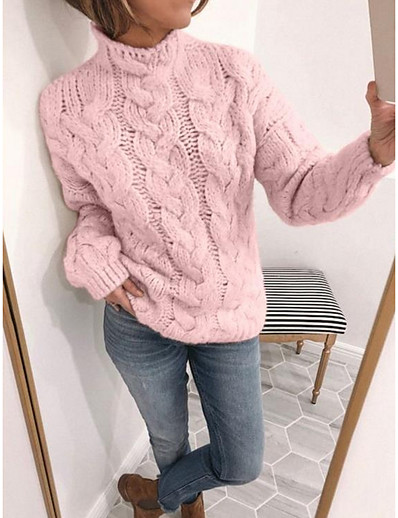cheap Sweaters & Cardigans-Women's Solid Colored Pullover Long Sleeve Sweater Cardigans Turtleneck Yellow Blushing Pink Beige