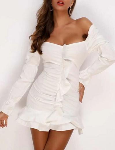 cheap Vintage Dresses-Women's Sheath Dress Short Mini Dress - Long Sleeve Solid Color Spring Fall Vintage Sexy 2020 White S M L XL XXL