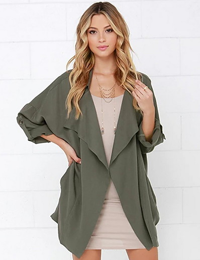 cheap Jackets & Blazers-Women's Coat Daily Regular Solid Colored Orange / Green S / M / L
