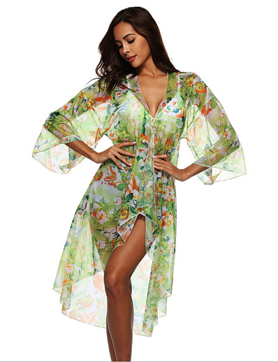 cheap Cover Ups-Women's Cover-Up Swimsuit Floral Swimwear Bathing Suits Green
