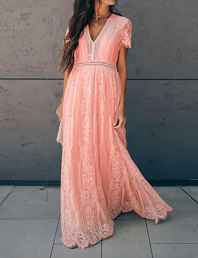 cheap Lace Dresses-Women's Swing Dress Maxi long Dress Blushing Pink Short Sleeve Solid Color Tassel Fringe Lace Summer V Neck Hot Vintage 2021 S M L XL XXL
