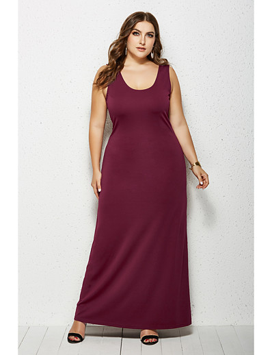 cheap Plus Size Dresses-Women's Sheath Dress Maxi long Dress - Sleeveless Solid Color Summer Boat Neck Plus Size Casual 2020 White Black Yellow Wine Green Navy Blue XXL 3XL 4XL 5XL