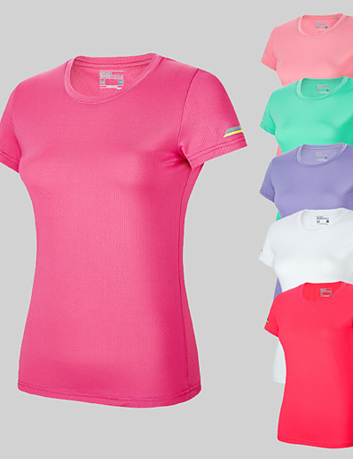 cheap SPORTSWEAR-Women's Running T-Shirt Workout Shirt Round Neck Top Active Training Breathable Quick Dry Stretchy Soft Sportswear Tee / T-shirt Short Sleeve Activewear Stretchy / Moisture Wicking