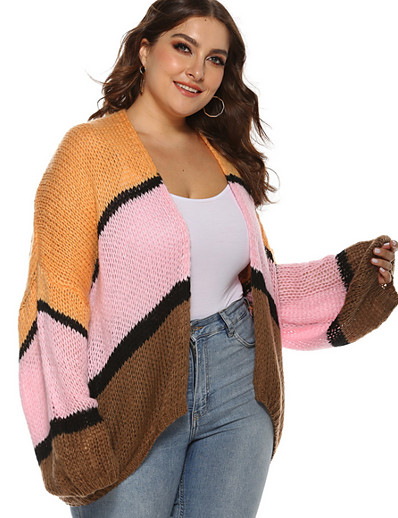 cheap Plus Size Tops-Women's Striped Cardigan Long Sleeve Loose Sweater Cardigans V Neck Orange
